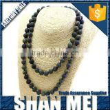 lastest design beads necklace dull polish gemstone beads necklace unisex handmade knotted necklace