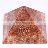 Red Carnelian - Crystal Quartz Orgone Pyramid With Crystal Point : Wholesale Orgonite Pyramids