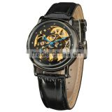 oem service black leather automatic mechanical man wristwatches for men watch