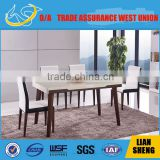 2016 New design luxury and Elegant dining table with marble top cover with Tempered glass and solid wood legs