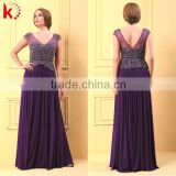 Cap Sleeve Open Back With Beading Chiffon Dress Style Long Chiffon Evening Dress New Style
