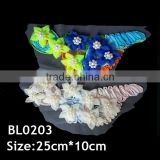 Handmade applique design colorful fabric flower trim for cloth
