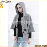 Dobby women coat OX horn button with batwing sleeves caputium