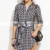 Ladies Long Sleeve Casual Mini Dresses New Fall Style Black Gingham Sleeve Tie Front Shirt Dress