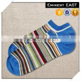 Customized 100% mercerized cotton silk like colorful striped ankle socks
