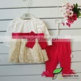 girls Cream Fashion Sweet dress with Red ribbonbow +Red Leggings Clothing sets baby outfits kids Suits baby sets