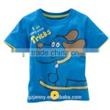 100% Cotton High Quality Blue Dog Printing Colorful Animal T-shirt for Children