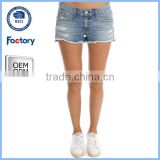 2016 new fashion ladies short tops for jeans ,custom ladies short jeans, hot sell ripped short jeans