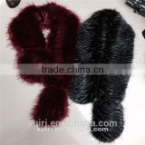 Large size fox fur collar with tail for lady overcoat winter faux raccoon fur scrafs 160cm