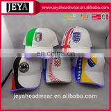 Front panel splicing national flag printed led baseball caps custom team logo embroidered baseball caps with built-in led