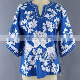 Women's Wear Multi Stylish Peacock Latest Designs Boho Casual Mexican Embroidered Dress Wholesale Short Tunic Kaftan