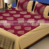 Red & Beige Printed Cotton Bed Sheet Set