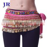 Y-2002 Wholesale cheap 248 coins and 338 coins velvet belly dance hip scarf belt for women
