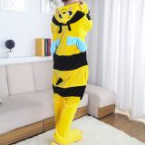 Bee Cartoon Flannel Conjoined Polyester Pajamas