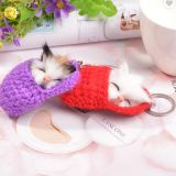 Cute Sleeping Cat PVC Keychains For Women Girls Handmade Woven Shoe