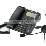 Analog business call center headset telephone