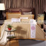Classic golden 100% cotton hotel bedlinen flower embroidery bed sheet set 500TC wholesale bedding set