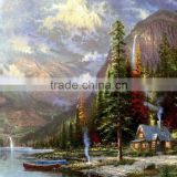High quality canvas base low price 60x90cm handmade beautiful mountain scenery oil painting
