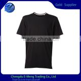 Mens' O-neck Blank T-shirt in Black With White Tape