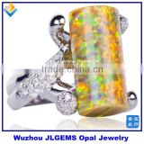 Wholesale 925 Sterling Silver Rings Whit Fire Golden Olive OPal Charm Fancy And Beautiful