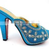 fashion Italian blue crystal diamond bridal wedding jeweled heel shoes newest women high heels Ladies Pumps Shoes
