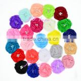"Single 3"" Chiffon Fabric Flower for baby shoes flower hair headband flowers ruffled"