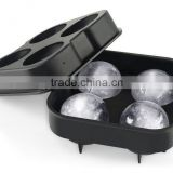 Ice Ball Maker Mold - 4 holes Ice Balls - Premium Black Flexible Silicone Round Spheres Ice Tray- Molds