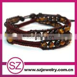 Tiger Eye beads beaded leather wrap bracelet