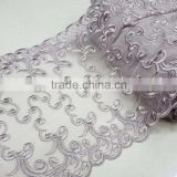 custom chantilly factory price border lace embroidered ribbon tulle lace trims/net lace trims