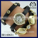 nice design U.S. popular bracelet watch leather strap*cat's eye stone setting leather watch bracelet