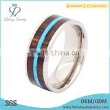 Mens titanium wood inlay rings, silver titanium ring band jewelry