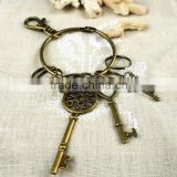 Zinc Alloy Key Chain Jewelry, with iron ring, antique bronze color plated key holder