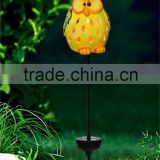 handmade mini ceramic owl led solar powered garden light lawn ornaments