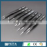 Slanted Tip Type and Stainless Steel Material Personalized ESD Eyebrow Tweezers for Beauty