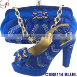 CSB5114 royal blue /yellow/orange rough high heel famous for Italy shoes matching bags with stones and crystal for party