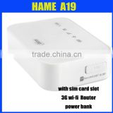 Hame A19 power bank 3g wifi router rj45 with simcard slot 5200mAH Li-ion battery
