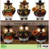 solar powered polyresin owl ornament for harvest festival home and garden decoration
