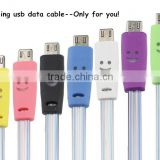 Hot selling Noodles Smile Face Cable Visible Transparent LED Light Up Micro USB Charger Cable for mobile phone