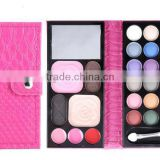 High quality portable pocket leather wallet design 24 colors palette makeup eye shadow with display box