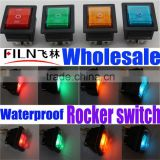 New style 12V 24V 110V 250V Green blue yellow red ,50 pcs per box, KCD4, waterproof electrical rocker switch