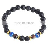 2016 HOTsell europe fashion hand Chain annulus Lapis lazuli and balck stone volcanic gold bracelet beads