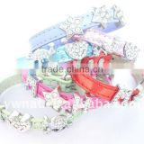 factory direct sale:leather dog collars with crystal studded