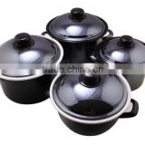 Deep Black Cast Iron Pot Enamel Cookware Sets on promotion
