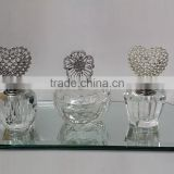 set of 3 decorative empty crystal perfume bottle & egyptian trinket box with mirror tray