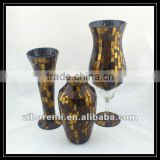 Wedding Centerpiece Exotic Style Amber Mosaic Handmade Shapes Tall Gorgeous Designs Vases