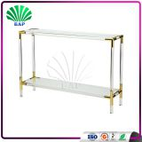High Quality Acrylic Italian Console Table Living Room Lucite Corner Table Gold Metal Corner Table
