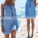 hot sale vest strap blue loose dress mini summer beach dress causual travel dress women