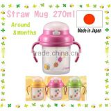 Japan Baby Straw Mug Pink From around 8 months 270ml Wholesale