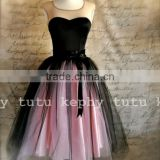 7 Layers Maxi Long Tulle Skirt Celebrity Skirts Girl women Adult Tutu Ball Gowns black with pink puffy tulle wedding skirt