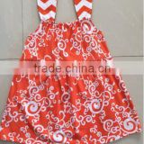 Hot Sale Halloween Orange Sunshine Girl Beach Dress Fashion Custom One Piece Braces Baby Summer Skirt